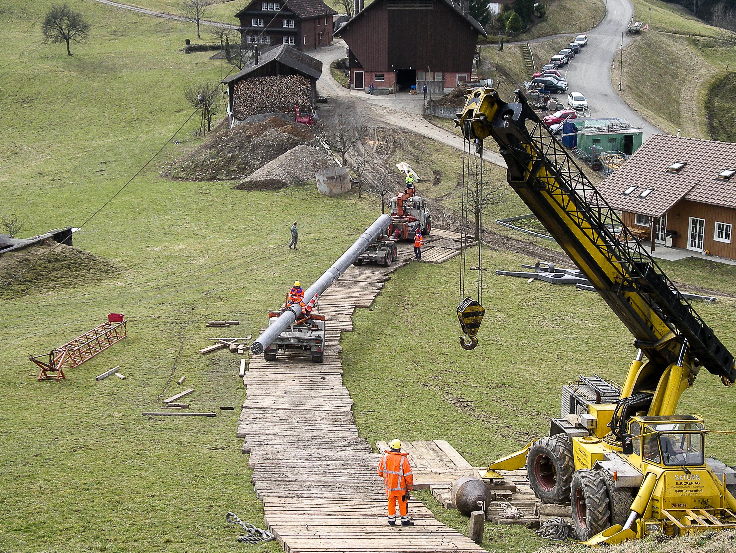 Freileitungsbau Kranarbeiten Jucker Spezialtransporte AG