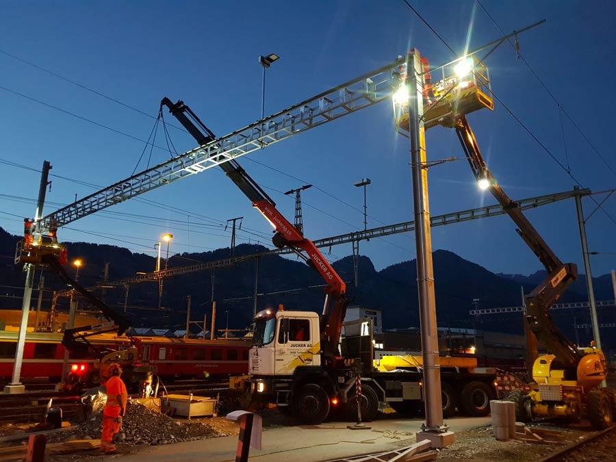Kranarbeiten SBB Fahrleitungsbau Jucker AG Turbenthal
