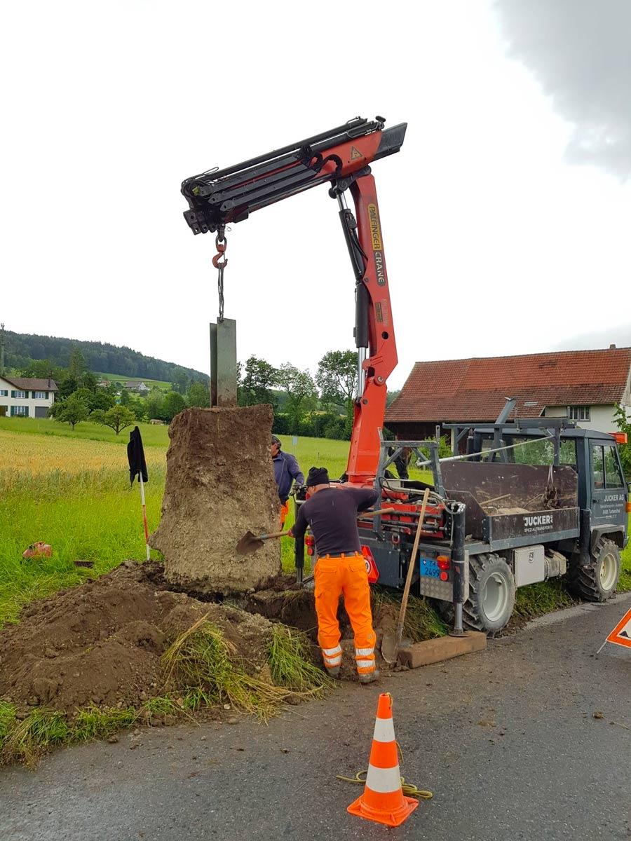 Mastfundamente Tiefbau Jucker Spezialtransporte AG Turbenthal